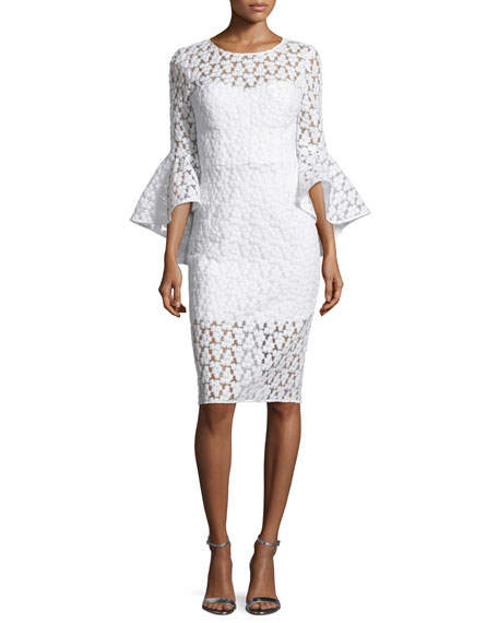Milly Anya Bell-Sleeve Embroidered Sheath Dress, White