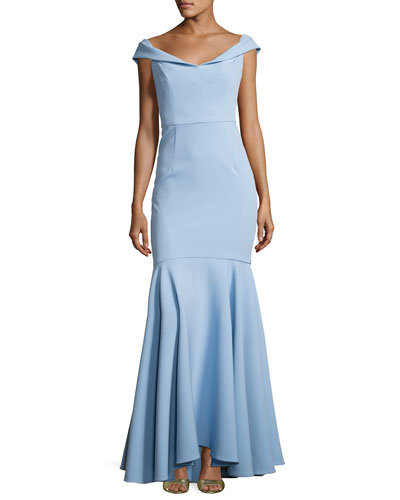 Layla Stretch Crepe Mermaid Gown, Blue