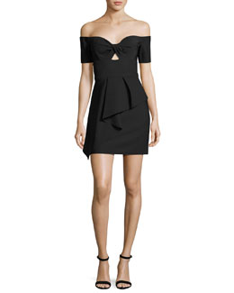 Vanessa Off-the-Shoulder Peplum Cocktail Dress, Black