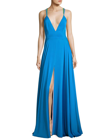Monroe Strappy Stretch Silk Gown, Blue/Multicolor