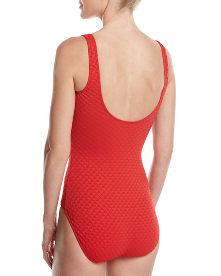 Diamond in the Rough One-Piece Swimsuit, Red