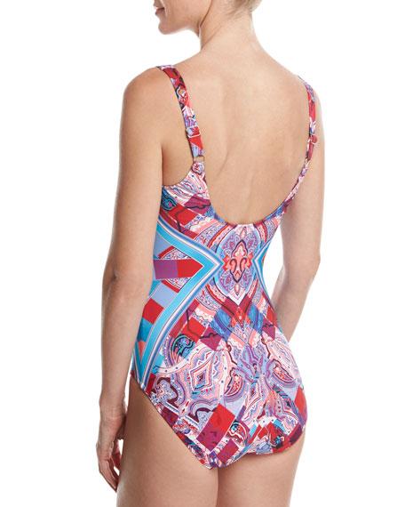 Harlequin V-Neck One-Piece Swimsuit, Red/Pink/Blue