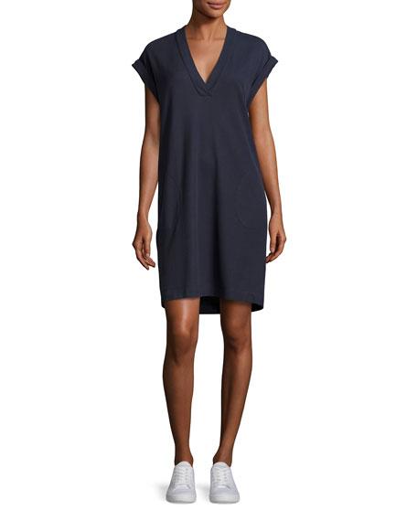 Pique Pima Shift Dress, Navy