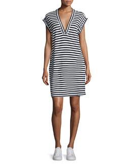 Striped Pima Jersey Dress, Navy/White