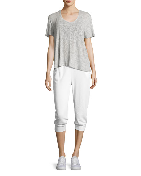 French Terry Capri Sweatpants, White