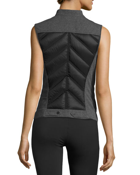 Quilted Inset Moto Athletic Vest Black/Gray