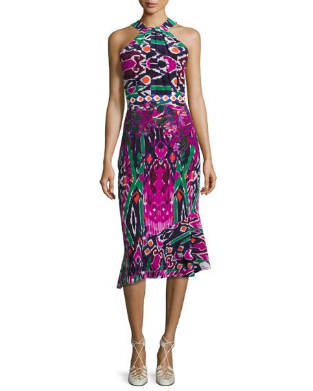 Ruby High-Neck Midi Dress, Multicolor