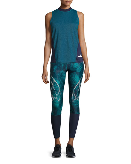 ADIDAS BY STELLA MCCARTNEY Run Sprintweb Rose-Print Leggings, Noble Ink/Blast Emerald, Blue Pattern
