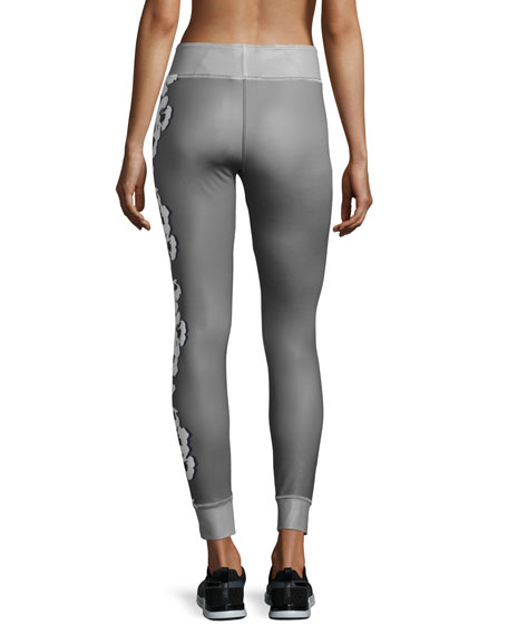 49a4f8753f adidas by Stella McCartney Yoga Floral-Print Leggings, Ice Gray/Granite