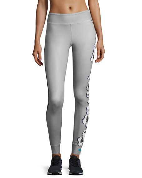 b69c8a905e adidas by Stella McCartney Yoga Floral-Print Leggings, Ice Gray/Granite