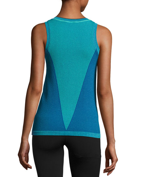 Barricade Tennis Quarter-Zip Knit Tank Top, Hyper Green/Bold Blue