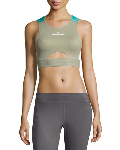 Run Contour Sports Bra/Crop Top, Green/Blue