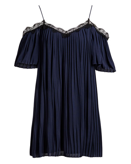 Mimi Cold-Shoulder Pleated Mini Dress, Blue Multi