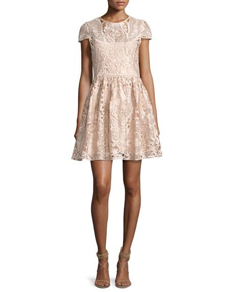 Gracia Cap-Sleeve Lace Cocktail Dress, Light Pink