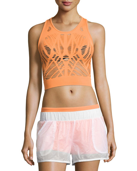 Alo Yoga Vixen Cutout Fitted Crop Tank, Orange