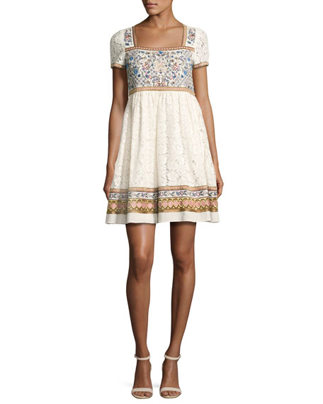 Asia Embroidered Square-Neck Babydoll Dress, Multi
