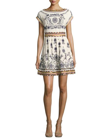 Alice + Olivia Gertie Embroidered Flare Dress, Multi