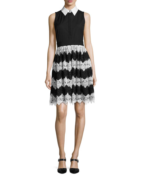 Alice + Olivia Stari Collared Flare Midi Dress,