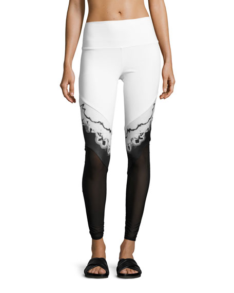 Alo Yoga Verse High-Waist Mesh-Panel Leggings, White/Black