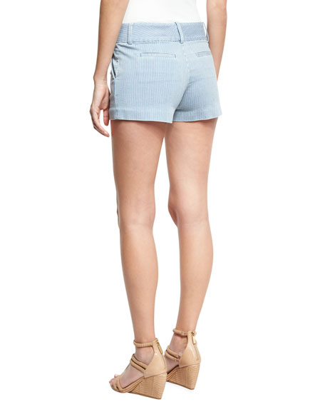 Cady Clean-Pocket Striped Shorts, Blue/White