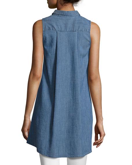 Anisa Sleeveless Chambray Tunic Top, Blue