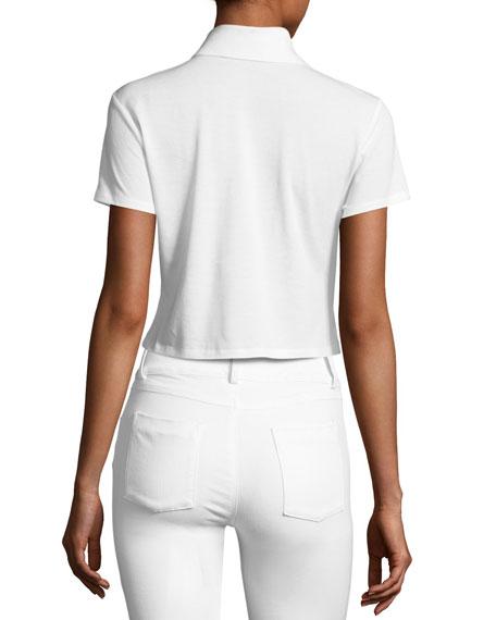 Erma Cropped Polo Tee, White