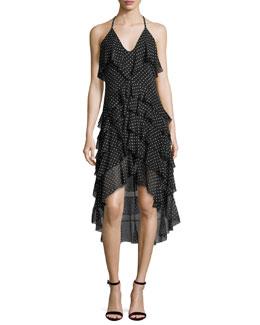 Lorilee High-Low Ruffled Dress, Multi