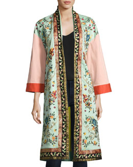 Amelia Oversized Embroidered Coat, Multi
