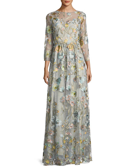 aa40eeff830 Marchesa Notte 3 4-Sleeve Embroidered Tulle Gown