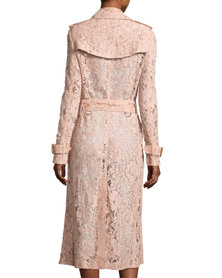 Wrap-Front Macrame Lace Trench Coat