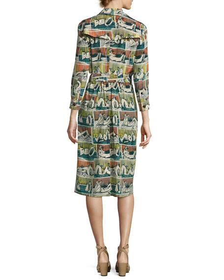 01549495be3 Burberry Reclining Figures Printed Silk Trench Dress