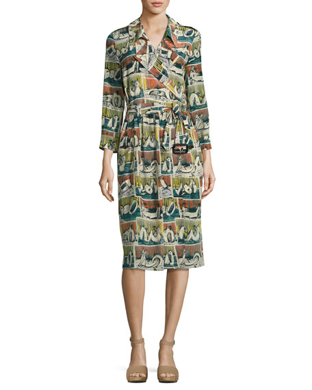 Reclining Figures Printed Silk Trench Dress