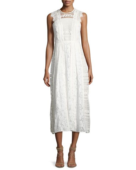 Sleeveless Mixed-Lace Long Dress