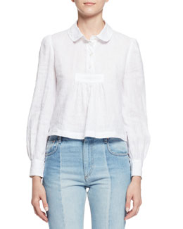 Daloa Puff-Sleeve Popover Blouse, White
