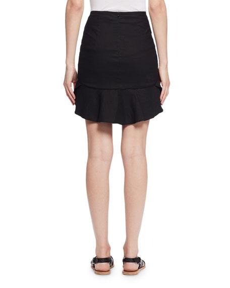 Newt Ruffled Mini Skirt, Black