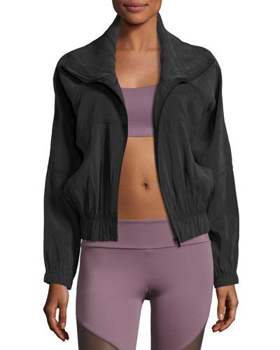 Woven Zip-Front Performance Jacket, Black