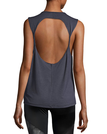 Twist Open-Back Muscle Tank Top, Blue