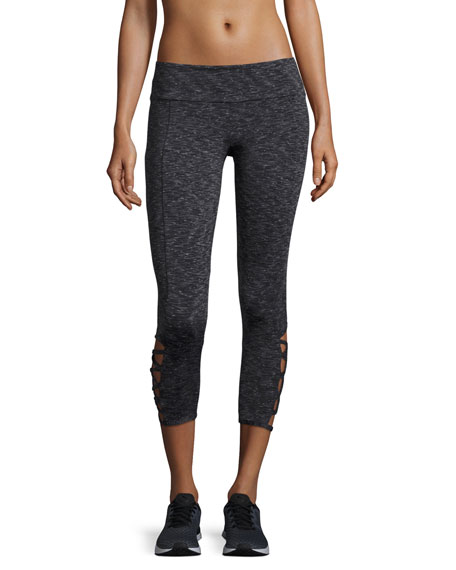 Weave Capri Athletic Leggings, Gray