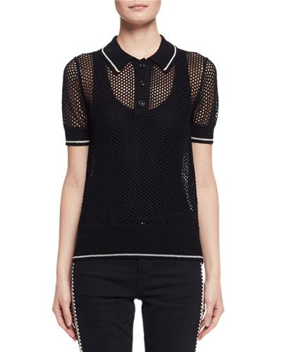 Drogo Open-Knit Polo Sweater, Black