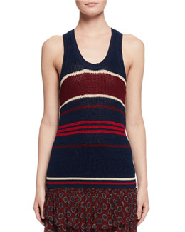 Dully Striped Knit Tank Sweater, Blue