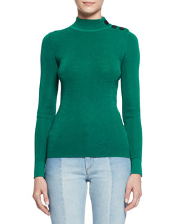 Destiny Button-Trim Turtleneck Sweater