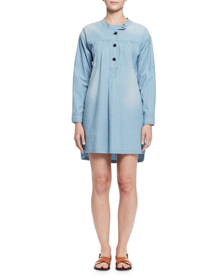 Anise Long-Sleeve Denim Shirtdress, Light Blue