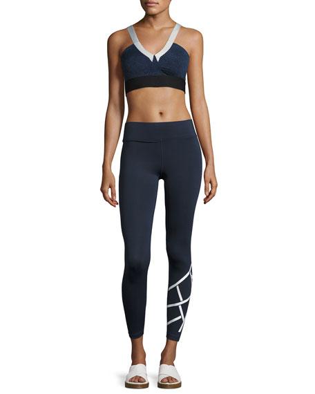Flex Full-Length Performance Leggings, Blue/White