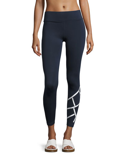 Flex Full-Length Performance Leggings, Blue/White