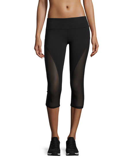 Alo Yoga Equalize Mesh-Inset Capri Sport Leggings, Black