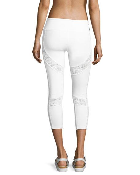 Charm Lace-Inset Capri Sport Leggings, White Pattern