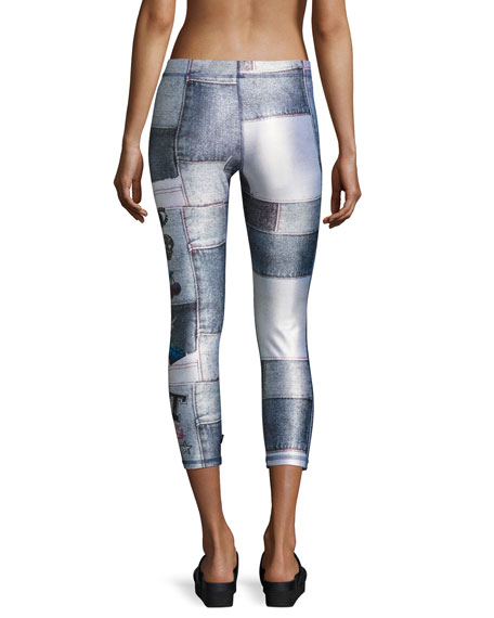 Denim Sequin Patches Performance Leggings, Blue