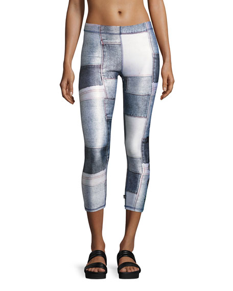 Terez Denim Sequin Patches Performance Leggings, Blue