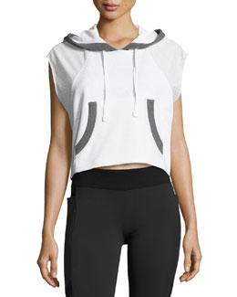 Cap-Sleeve Mesh Crop Pullover Hoodie, White/Gray