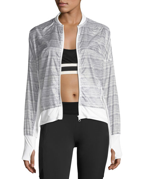 Blanc Noir Feather Weight Stripe-Print Jacket, Gray